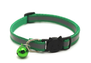 Reflective Breakaway Nylon Cat Safety Collar with Bell for Cat Kitten adjustable