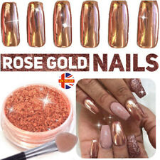 ROSE GOLD Dust NAILS POWDER Gel Polish Mirror Chrome Effect Pigments Nail Art UK