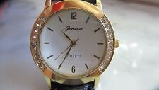 Gold colored Geneva Quartz dress Men's Wrist Watch with crystals on bezel