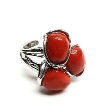 anello di corallo rosso naturale da donna in argento rodiato artigianale vintage