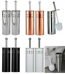 SET OF 2 STAINLESS STEEL BATHROOM TOILET CLEANING BRUSH AND FREE STANDING HOLDER