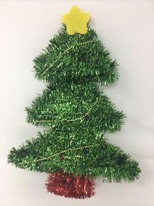 "Merry Christmas Green and Shiny Red Tinsel Christmas Tree, Wall Hanger, 14"" tall"