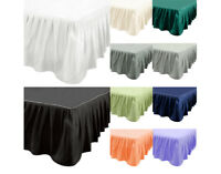 "US 14"" Elastic Pleated Bed Skirts Solid Color Dust Ruffle Drop Esay Fit ALL SIZE"