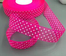 FREE DIY 10-100Yards 26mm dot Satin Edge Sheer Organza Ribbon Bow Craft Wedding