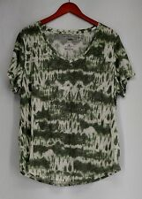 Sonoma Goods For Life Plus Size 1X Tie Dye V-Neckline Tee Green NEW NWOT