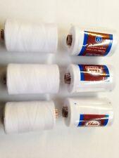 6 x Blanco 732m Coats 100% Hilos Poliéster Costura Carretes De La Mejor Calidad