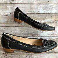 Enzo Angiolini 7M Makayla Moc Toe Loafer Black Pebbled Leather Low Block Heel