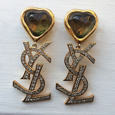Rare Vtg Yves Saint Laurent YSL Logo Jumbo XL Gripoix Heart SATC Dangle Earrings