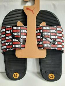 PUMA Men's Cool Cat Slides Knockout Black/White/Red Color Flip Flop Logo SIZE 12
