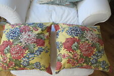 Pottery Barn, Pair of Yellow Floral Linen Blend Pillows with Pillow inserts.