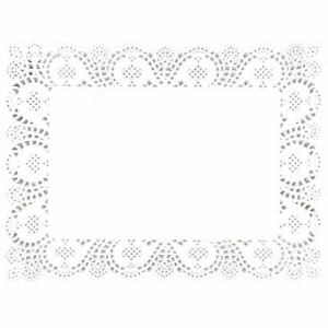 250 x White No 3 Rectangular Traypapers 30x40cm Lace Border Doyleys