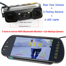 US-7'' MP5 Bluetooth Car Rearview Mirror Monitor+3 in1 Car Parking Sensor Camera