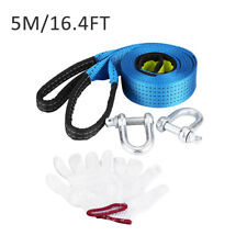 5M 8T Recovery Tow Strap Kit Heavy Duty Emergency Off Road Towing Rope w/ D Ring
