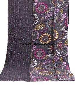 Kantha Quilt Indian King Bed Cover Blanket Handmade Patchwork Bedspread Bedding