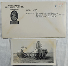 1937 John Deere Real Photo #6 Combine A Tractor Bredon Sheldon Il