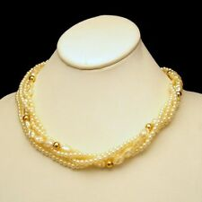 Vintage Faux Pearls Necklace Mid Century Torsade Multi 4 Strands Beads Bridal