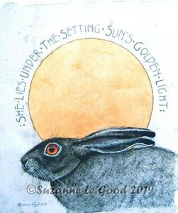Hare sun large art limited editlion print from original painting Suzanne Le Good