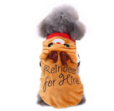 DOG PUPPY SOFT FLEECE VELVET CHRISTMAS REINDEER FOR HIRE JUMPER PYJAMAS HOODIE!
