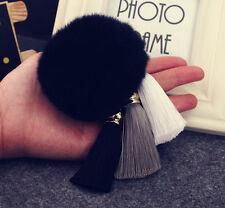 Lovely Rex Rabbit Fur Ball PomPom Car Keychain Key Ring With Three Tassel Black