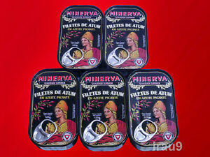 Minerva 5x Cans Spiced Tuna Fish Fillets Olive Oil 125g each Portugal