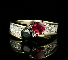 VINTAGE ESTATE PEAR SHAPE NATURAL 1.86ctw RUBY SAPPHIRE & DIAMOND 18K GOLD RING