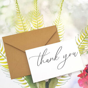 25x Thank You Cards Card Stock Paper 10x6.5CM Wedding Foldable Saying Shop Note
