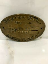 vintage marine brass ship nautical salvage small name plate of vancouver canada