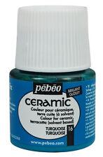 Pebeo Ceramic Porcelain China Terracotta Paint 45ml Enamel Finish - 30 Colours Turquoise 16