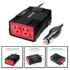 Portable Car Power Inverter 300 Watts DC to AC -w/ 2 Outlets USB Travel Charging