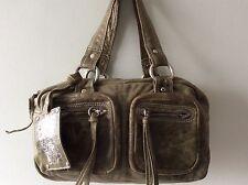 JANE NORMAN real leather ladies small green tote handbag