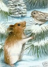 ACEO LE art print Hamster 12 bird from original painting by L.Dumas
