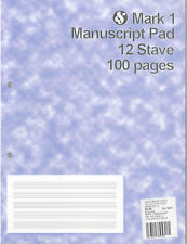 Mark 1 Manuscript Pad 12 Stave 100 pages *NEW* music, musical, notation, paper