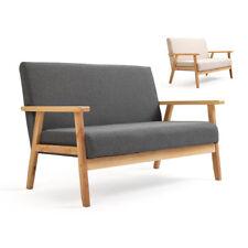 Sofa Holz Retro Couch Sofagarnitur Polstermöbel Polstersofa Knopfdeko