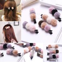 Women Girls Fashion Pom Pom Snap Hair Clip Set Pink Ball Pompom Hairpin