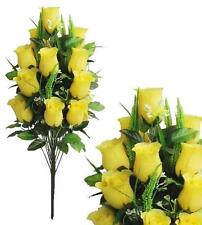 "Large Yellow Rose 23"" Bouquet Wedding Home Office Decor Artificial Flower Leaf"