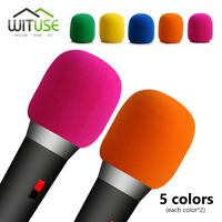 10X COLORFUL MICROPHONE WINDSCREEN FOAM MIC COVER FOR HANDHELD STAGE KARAOKE DJ