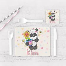 Personalised Cute Panda Bear Girls Kids Children's Table Placemat & Coaster