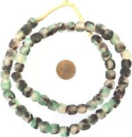 60 Made in Ghana Teal chocolate Recycled glass African trade beads-Ghana