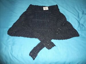 Girls Black Sequin Wrap Age Approx 7-10 yrs