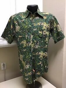 Bushlan South Texas Camo Short Sleeves Shirt Mens Size Medium Cotton USA