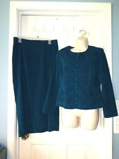 WOMAN size 10 KARIN STEVENS 2PC Mole skin embroidered TEAL SUIT DRESS CAREER