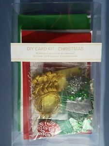 Christmas Craft Card Making Kit - 20 cards with envelopes Gold Green Red Tree