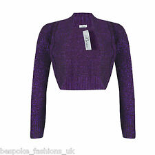 Ladies Long Sleeve Cropped Bolero Knitted Lurex Shrug Sparkly Top Plus Size 8-16 Purple Ml 12-14