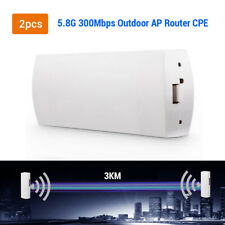 2x 300Mbps 5.8GHz WiFi Wireless Outdoor CPE Bridge AP Repeater Signal High Power