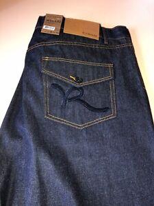 """Rockawear Men's Big & Tall Raw Blue/Navy """"R"""" Flap Classic Fit Jeans Size W50 X L"""