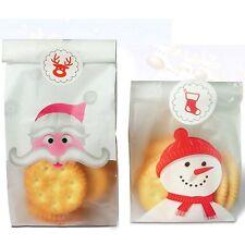 20x Christmas Gift Bags santa and snowman Treat Lollies Bag Macaron Cookie  DIY