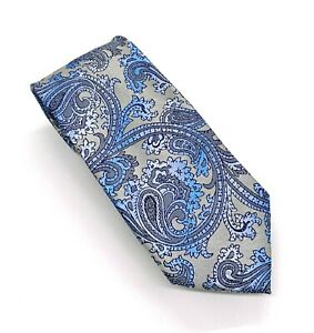 Savile Row Tie Classic Beauty Blue Gray Paisley Floral Poly 58 x 3.25 China New