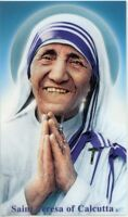 ST. TERESA OF CALCUTTA - Laminated  Holy Cards.  QUANTITY 25 CARDS