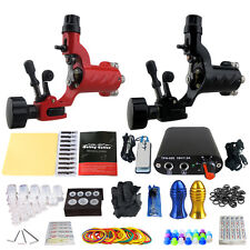 Professional Rotary Tattoo Machine Kit 2 Motor Guns Power Supply Needle Grip Set