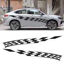 "2x Racing Car Side Full Body Decal Stripes Graphics Black Plaid Sticker 110""×13"""